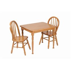 Heirloom Child's Square Oak Table and Chairs Set