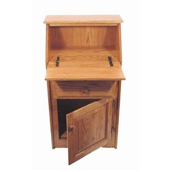 Oak Secretary Desk with Storage - Open