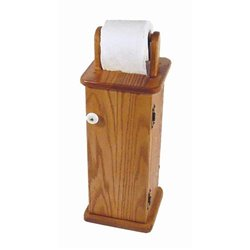 Oak Free Standing Toilet Paper Cabinet/Holder