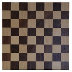 Brown Maple and Walnut 12x12 Checker Board with Checkers