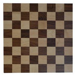 Brown Maple and Walnut 16x16 Checker Board with Checkers