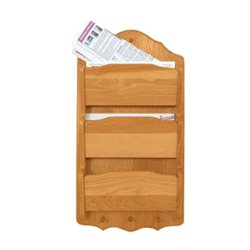 Oak Hanging 3 Tier Letter/Bill Organizer - Wall Mounted