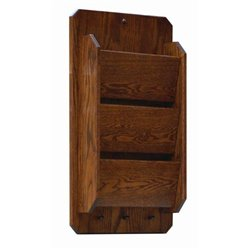 Oak Hanging 3 Tier Letter/Bill Organizer with Key Hooks - Wall Mounted