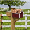 Pressure Treated Pine Burgundy with White Trim Painted Mailbox - Amish Made