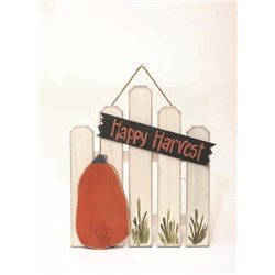 Primitive Rustic Pine Autumn Fence with Pumpkins