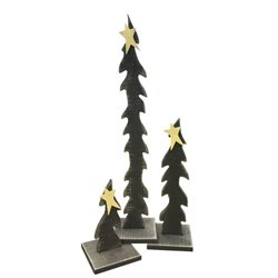 Primitive Rustic Christmas Decoration - Set of 3 Wooden Christmas Trees with Stars