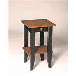 Rustic Primitive Pine Wood Square End/Side Table with Shelf