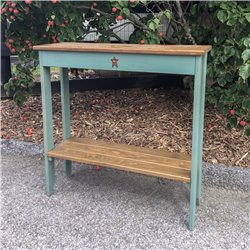 Rustic Primitive Pine Wood Sofa Table with Shelf