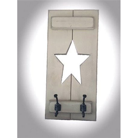 Primitive Rustic Pine Slat Shutter Style Wall Mounted Coat / Towel Rack with Cut Out Star