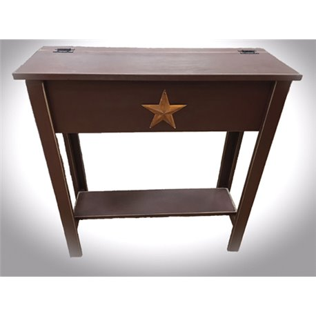 Primitive Rustic Pine Treasure Box Stand with Lift Top and Rustic Star