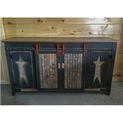 5 Foot TV Stand in Black with Burlap Rustic Star Door Fronts