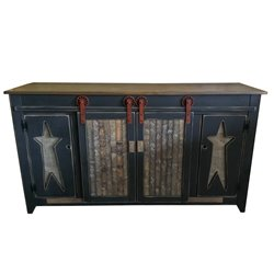 Primitive 5 Foot TV Stand with Sliding Barn Doors - Choice of 2 Styles