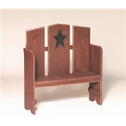 Primitive Rustic Miniature Deacon's Bench With Country Star