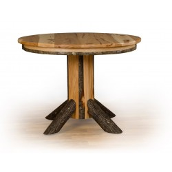 Rustic Hickory Single Pedestal Round Dining Table - Oak or Hickory Top - Multiple Sizes