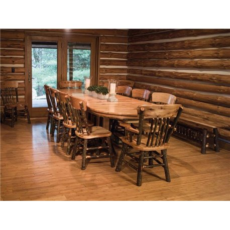 "72"" Rustic Hickory Double Pedestal Shown with 10 Chairs"