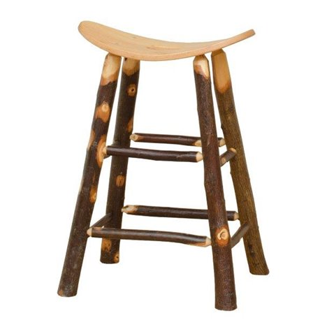 Rustic Hickory Saddle Stool - Counter or Bar Height