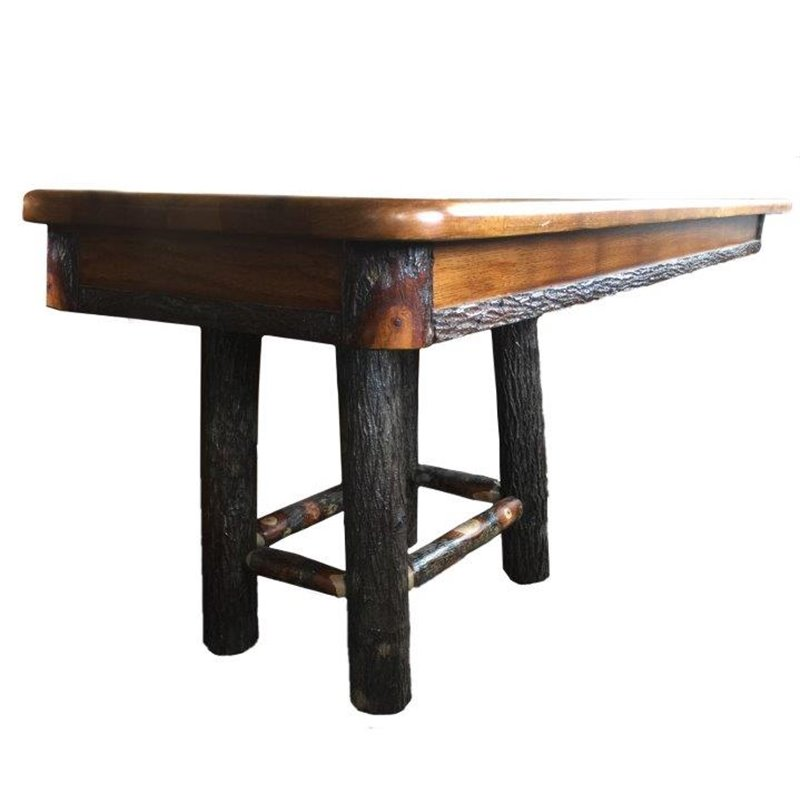 Rustic Hickory 4 Leg Trestle Style Dining Table