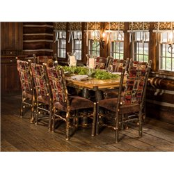"Rustic Hickory Trestle Style 72"" Dining Table with 8 Chairs in Erie Fabric"