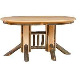 "Rustic Hickory Double Pedestal 72"" Oval Dining Table with 10 Chairs"