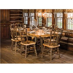 "Rustic Hickory Trestle Style 72"" Dining Table with 6 Chairs"