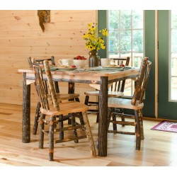 "Complete Rustic Hickory & Oak Dining Room Set - 60"" Table & 6 Chairs"