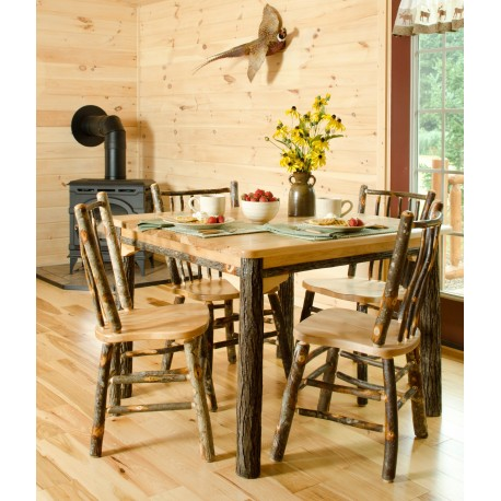 Complete Rustic Hickory Oak Dining Room Set 60 Table