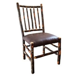Stick Back Chairs with Upholstered Faux Brown Leather Seat