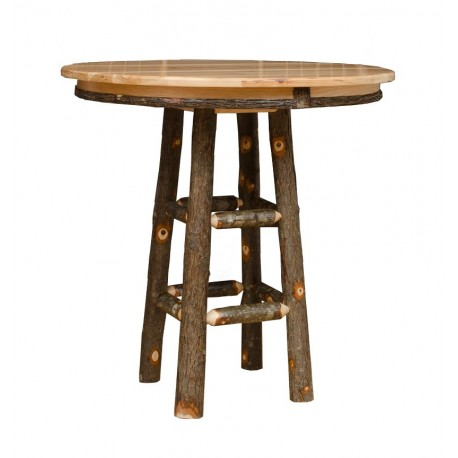 Rustic Hickory Round Pub Table For 24 Or 30 Bar Stools