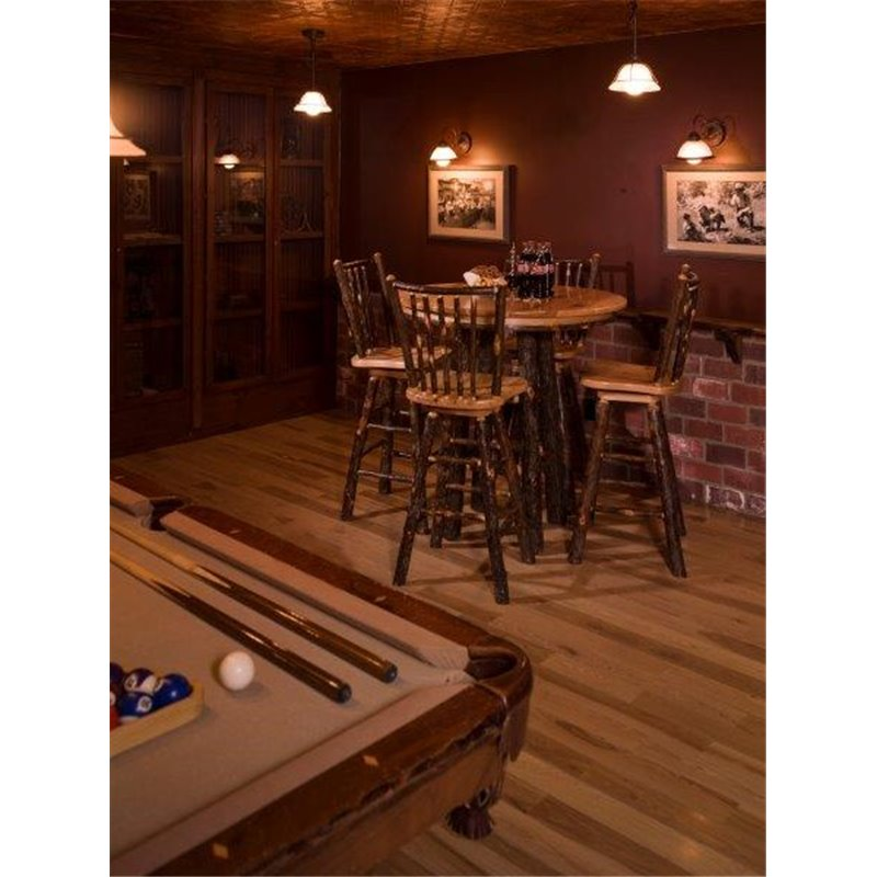 Rustic Hickory 36 Quot Tall Pub Table With 4 Stick Back Swivel
