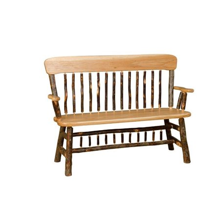 All Hickory Deacon Bench with Arms