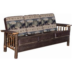 Rustic Hickory Log Sofa with Faux Leather and Stud Accents
