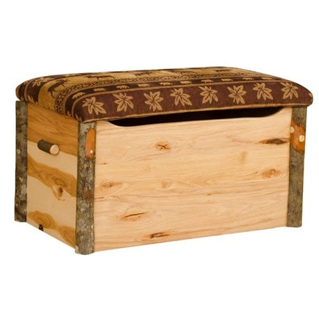 Rustic Primitive Hickory Blanket, Hope, Storage Chest with Cushion Top