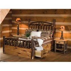 Rustic Hickory Log Bed - Dakota Style with Storage - Twin / Full / Queen / King