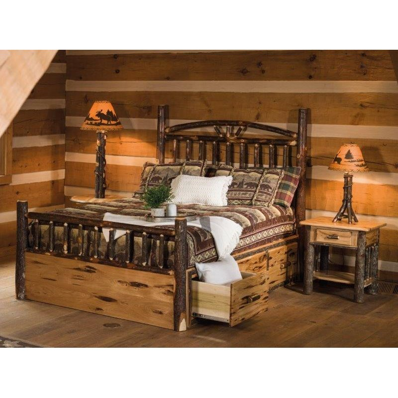 Rustic Hickory Log Bed Wagon Wheel Style With Storage Drawers