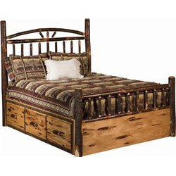 Rustic Hickory Log Bed Wagon Wheel Style With Storage Drawers Bed
