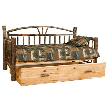 Rustic Hickory Log Day Bed with Trundle