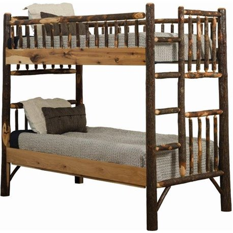 rustic hickory log bunk bed set twin over twin to queen over queen. Black Bedroom Furniture Sets. Home Design Ideas