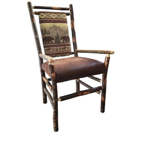 Set of Two Rustic Hickory Dining Medium Back Arm Chairs