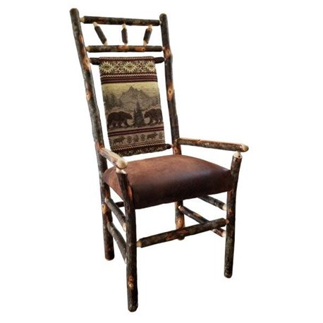 Bon Set Of Two Rustic Hickory High Back Dining Arm Chairs