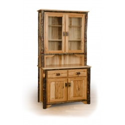 Rustic Hickory 2 Door Buffet and Hutch / China Cabinet