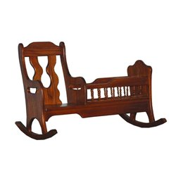 Child's Oak Rocker with Toy Doll Cradle