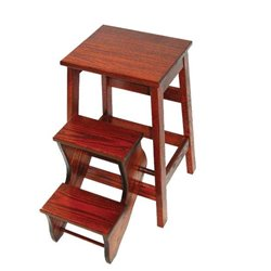 Counter Height Oak Stool with Flip Out Steps