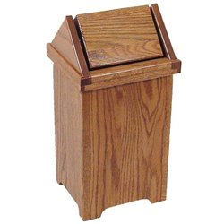 Regular Size Oak Flip Top Trash/Recycling Bin
