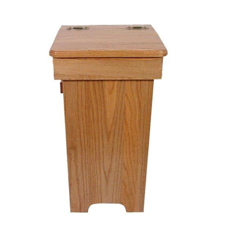 Oak Trash/Recycling Bin with Hinged Lift Up Lid