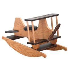 Heirloom Oak Child's Rocking Airplane