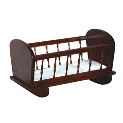 Toy Doll Oak Cradle with Spindles