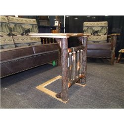 Hickory over the Arm Sofa Table/Caddy with Spindle Front