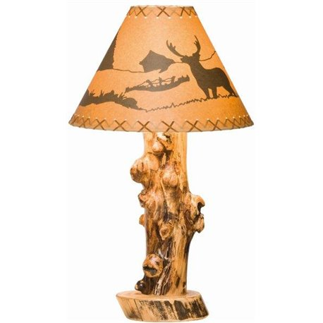 Rustic Aspen Log Table Lamp