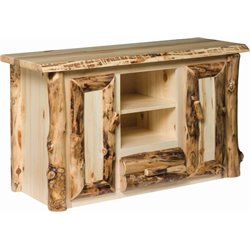 Rustic Aspen Log TV Stand with 2 Center Shelves
