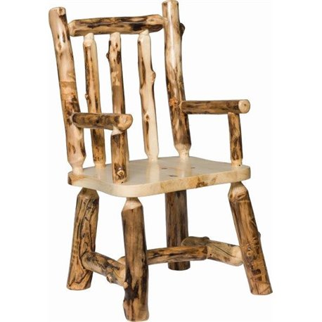 Set of 2 Rustic Aspen Log Dining Chairs with Arms